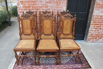 Beautiful Set Of 6 French Antique Carved Oak Louis XIV Cane Dining Chairs.
