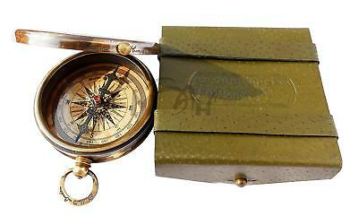 Antique Robert Frost Poem Engraved Brass Compass Embossed Old Gift Leather Case