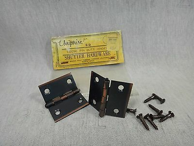 "vintage loose pin butt 2 screen door hinges 1 1/2 x 1 3/4"" shutter hardware #L11"