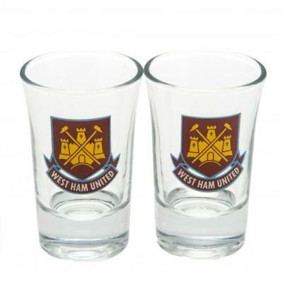 West Ham United F.C. 2pk Shot Glass Set CT (football club souvenirs memorabilia)