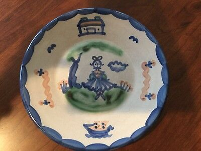 """Vintage M.A.HADLEY Girl w/Bow & House Tree Boat~9"""" Luncheon Salad/Dessert Plate"""