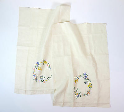 Vintage Hand Embroidered Place Mats, Set of Two, Ivory With Multi-Color Flowers