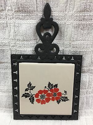 Hall Red Poppy Pattern Wrought Iron & Pottery Trivet • New Stock
