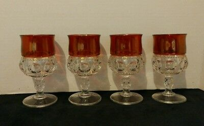 Set of 4 Ruby Glass King's Crown Thumb Print Goblets/Glasses 8 ounce