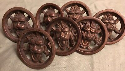 Set 7  Victorian Antique Lion and Gargoyle Head Cast Brass Drawer Pulls Knobs