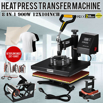 8 in1 12 x10 Heat Press Digital Sublimation Machine T-Shirt Mug Hat Cap DIY USA