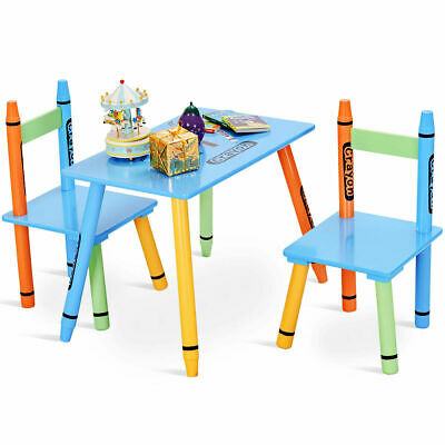 3 Piece Crayon Kids Table & Chairs Set Wood Children Activity Playroom Furniture