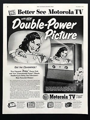 1953 Vintage Print Ad MOTOROLA TV Beautiful Woman Television Star Image