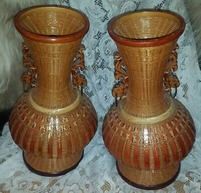 2 Vintage Beautiful Rattan/Wicker Woven Cover Porcelain Vase~Wood Ornate Handles