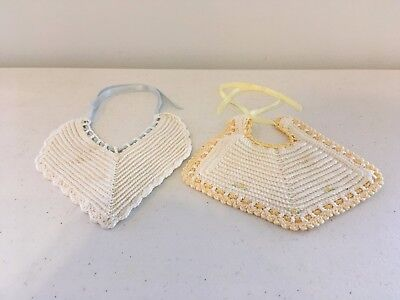 2 Vintage 1950s RARE Hand Crocheted Embroidered Baby / Doll Bibs With Satin Ties