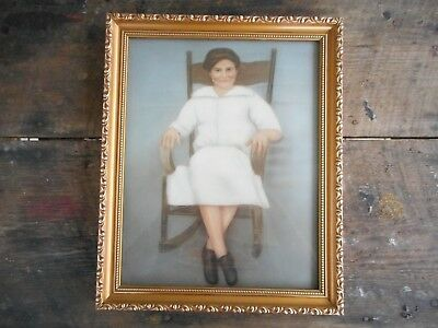 "Beautiful Vintage 16"" x 13"" Wood Picture Frame Old Lady Woman Rocking in Chair"