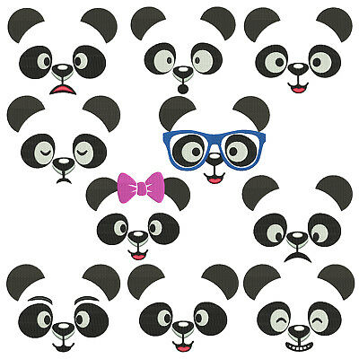 PANDA FACES * Machine Embroidery Patterns * 10 Designs in 4 sizes