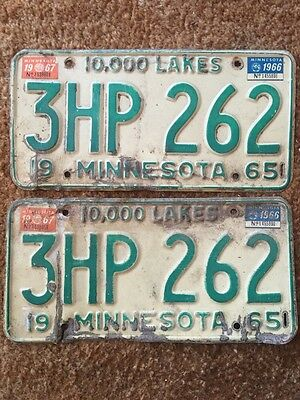 Matching Pair of 1965 Minnesota Vehicle License Plates - MN - Vintage, Antique