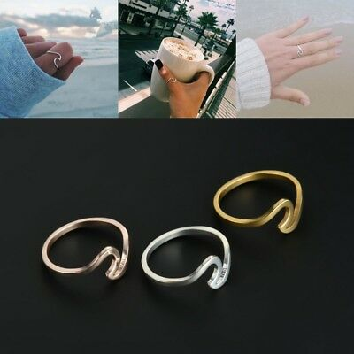 2Pcs Fashion Wave Band Ring Simple Plain 925 Sterling Silver Ocean Size 7-10