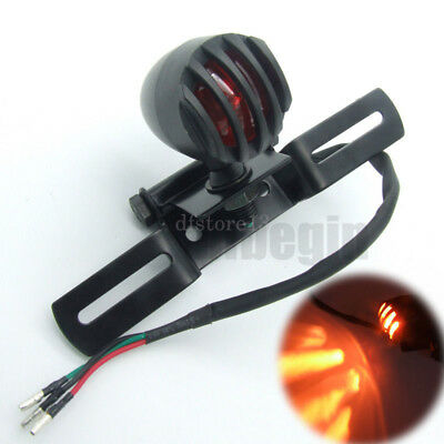 moto feu arrière licence support bobber grill stop lamp chopper tail amber light