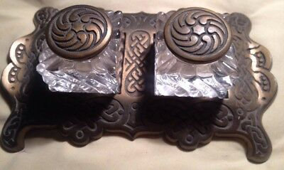 Antique Brass Ornate Double Cup Cut Glass Inkwell Victorian Art Nouveau