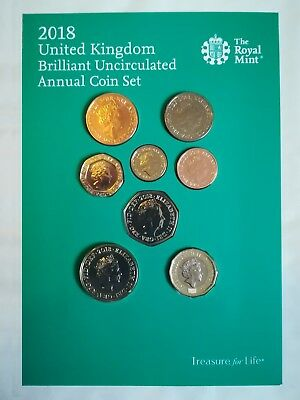 2018 Annual United Kingdom Coin set Brilliant Uncirculated UK Definitive Coin BU