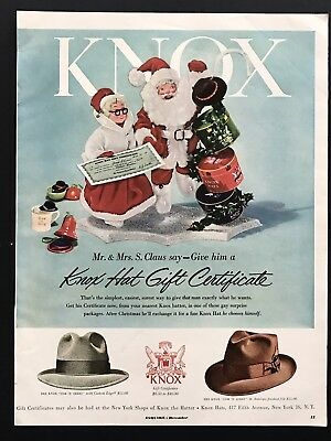 1953 Vintage Print Ad Knox Men's Hat Fashion 50's Santa Clause Christmas