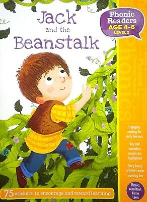 Jack and the Beanstalk|Age 4-6|Phonics Readers|Level 2|Kids Book|75 Stickers|New