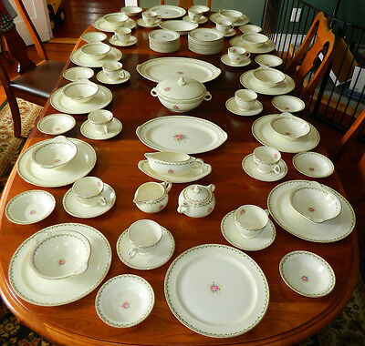 Vintage 88 Piece Service for 12 Taylor Smith & Taylor USA Fine China Flowers