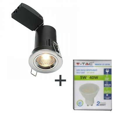 LED Fire Rated Down light Saxby Brushed Chrome Twist Lock  + V-Tac  5W LED LAMP