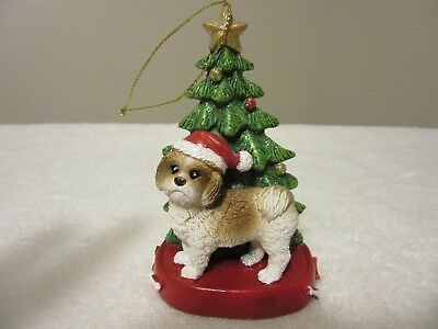 SHIH TZU Dog Standing in front of Christmas Tree  Ornament