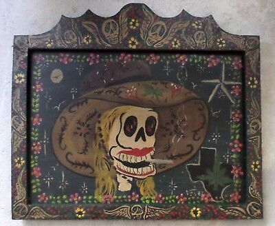 Mexican Art Velez Wood Wall Painting Rustic Pot Smoking Catrina Day of Dead