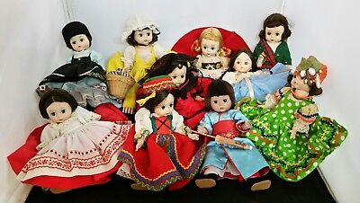 "Vintage Madame Alexander 8"" Dolls Lot of 10 No boxes Few need restrung"
