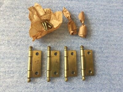 Old Vintage Griffin Mfg Small Cannon Ball Steel Cabinet Door Hinges lot of 4