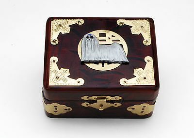 "Shih Tzu Handcrafted Handpainted 3-D Image On 4 1/2""L. Lacquered Wooden Box,USA"