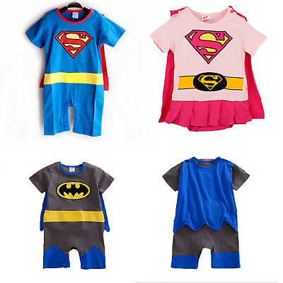Baby Boys Girls Superhero Romper Bodysuit Jumpsuit Fancy Party Costume Toddler