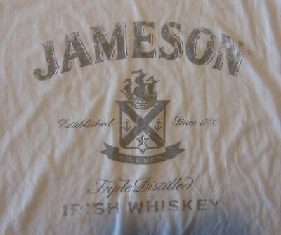 Jameson Irish Whiskey Mens T-Shirt, White, Cotton, Size XL, EUC
