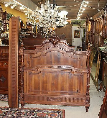 Beautiful French Antique Carved Solid Walnut Louis XVI Full Size Bed.