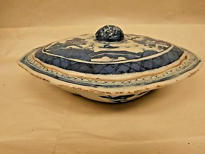 Beautiful Early Chinese Canton Serving Dish - Pomegranate Finial - Blue & White