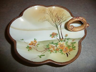 NIPPON Hand Painted Brown Tan Circle Handle Nappy Bowl Dish Tree & Flowers