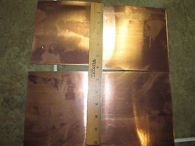 "Qty 4 Copper Sheet .031"" Thick - 24oz per sf - 20 Ga - 6""x6"" 4 pcs!"