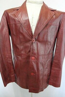 Vintage DEMAIN Retro GENUINE LEATHER Hipster BUTTON FRONT Coat  JACKET sz. 48