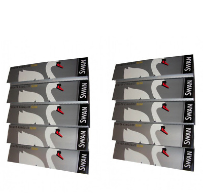 Swan King Size Slim Rolling Papers 10 Booklets Silver Smoking Rizla Multi Pack