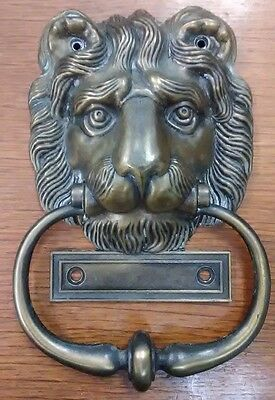 "Vintage Solid Brass Lion Head Door KNOCKER 7.5"" w Name Plate"