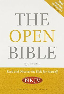 NKJV, OPEN BIBLE, BONDED LEATHER, BLACK By Thomas Nelson **BRAND NEW**