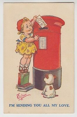 "POSTCARD - artist Gilson ""Sending you all my love"" comic girl, dog, red post box"