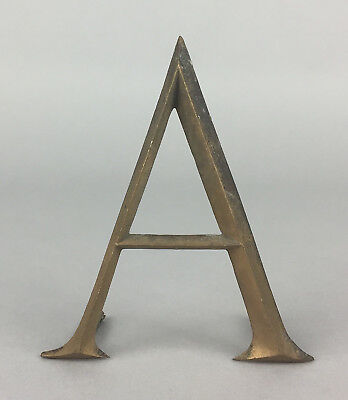 "-LETTER A- EARLY C20th VINTAGE 3"" BRONZE METAL SHOP ADVERT ALPHABET DISPLAY SIGN"