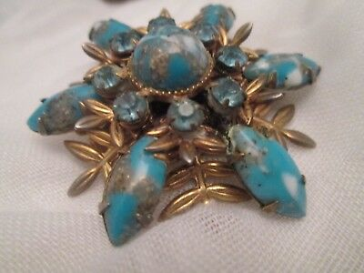 Art Deco Vintage Turquoise Gold Foil Art Glass Cabochon & Blue Rhinestone Brooch
