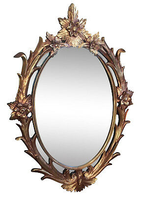 Antique French Provincial Italian Rococo Ornate Gold Gilt Oval WALL MIRROR
