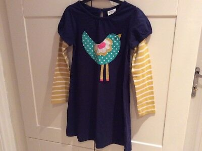 Girls mini boden dress navy blue with applique bird age for Mini boden germany