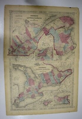 1865 Original Antique Johnson Hand-colored Map of Lower & Upper Canada + NB