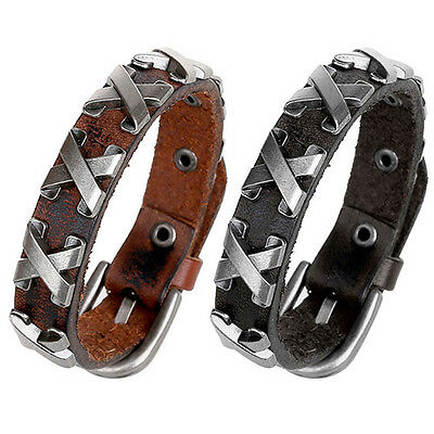 EG_ Fashion Women Men Punk Leather Bangle Alloy Wristband Cuff Bracelet Jewelry