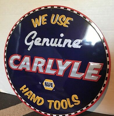 """Napa Autoparts Carlyle Hand Tools Gas Oil 16"""" Embossed Metal Sign New"""