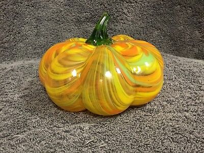 Hand Blown Glass Art Sculpture Pumpkin Fall Colors