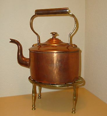 Antique Georgian Copper And Brass Kettle With Stand